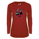 Ladies Syntrel Performance Cardinal Longsleeve Shirt-M with Knight