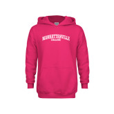 Youth Raspberry Fleece Hoodie-Manhattanville College Arched