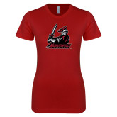 Next Level Ladies SoftStyle Junior Fitted Cardinal Tee-Hockey