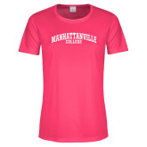 Ladies Performance Hot Pink Tee-Manhattanville College Arched