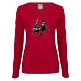 Ladies Cardinal Long Sleeve V Neck Tee-M with Knight