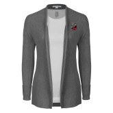 Ladies Heather Grey Open Front Cardigan-M with Knight