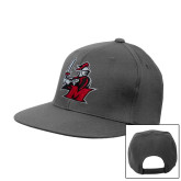 Charcoal Flat Bill Snapback Hat-M with Knight