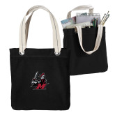Allie Black Canvas Tote-M with Knight