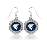 Crystal Studded Round Pendant Silver Dangle Earrings-Spartan Icon