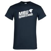 Navy T Shirt-MBU Spartans Slashes