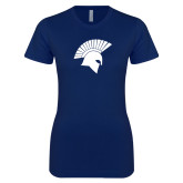 Next Level Ladies SoftStyle Junior Fitted Navy Tee-Spartan Icon