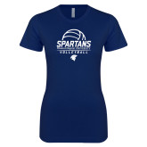 Next Level Ladies SoftStyle Junior Fitted Navy Tee-Volleyball Stacked