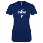 Next Level Ladies SoftStyle Junior Fitted Navy Tee-Geometric Lacrosse Stick