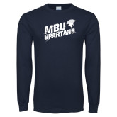 Navy Long Sleeve T Shirt-MBU Spartans Slashes