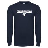 Navy Long Sleeve T Shirt-#GAMEONSPARTANS
