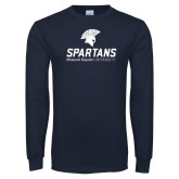 Navy Long Sleeve T Shirt-Primary Mark Distressed