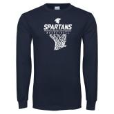 Navy Long Sleeve T Shirt-Basketball Net