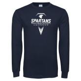 Navy Long Sleeve T Shirt-Geometric Lacrosse Stick