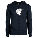 ENZA Ladies Navy Fleece Full Zip Hoodie-Spartan Icon