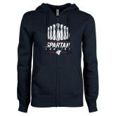 ENZA Ladies Navy Fleece Full Zip Hoodie-Spartans Bowling