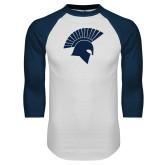 White/Navy Raglan Baseball T Shirt-Spartan Icon