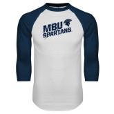 White/Navy Raglan Baseball T Shirt-MBU Spartans Slashes