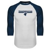 White/Navy Raglan Baseball T Shirt-#GAMEONSPARTANS