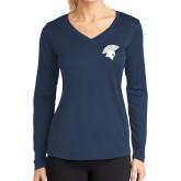Ladies Syntrel Performance Navy Longsleeve Shirt-Spartan Icon