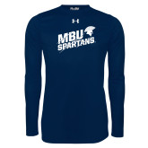 Under Armour Navy Long Sleeve Tech Tee-MBU Spartans Slashes
