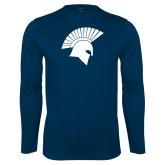 Performance Navy Longsleeve Shirt-Spartan Icon