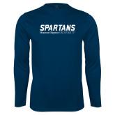 Performance Navy Longsleeve Shirt-Wordmark