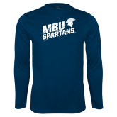 Performance Navy Longsleeve Shirt-MBU Spartans Slashes