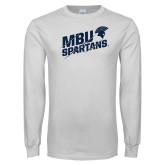 White Long Sleeve T Shirt-MBU Spartans Slashes