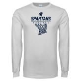 White Long Sleeve T Shirt-Basketball Net