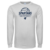 White Long Sleeve T Shirt-Volleyball Stacked