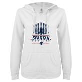 ENZA Ladies White V Notch Raw Edge Fleece Hoodie-Spartans Bowling
