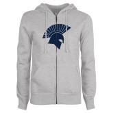 ENZA Ladies Grey Fleece Full Zip Hoodie-Spartan Icon