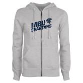 ENZA Ladies Grey Fleece Full Zip Hoodie-MBU Spartans Slashes