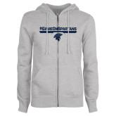 ENZA Ladies Grey Fleece Full Zip Hoodie-#GAMEONSPARTANS