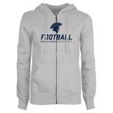 ENZA Ladies Grey Fleece Full Zip Hoodie-Football