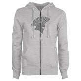 ENZA Ladies Grey Fleece Full Zip Hoodie-Spartan Icon Glitter Silver Soft Glitter