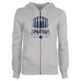 ENZA Ladies Grey Fleece Full Zip Hoodie-Spartans Bowling