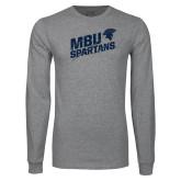 Grey Long Sleeve T Shirt-MBU Spartans Slashes