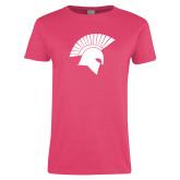 Ladies Fuchsia T Shirt-Spartan Icon