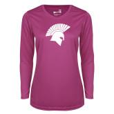 Ladies Syntrel Performance Raspberry Longsleeve Shirt-Spartan Icon