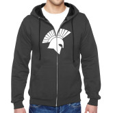 Charcoal Fleece Full Zip Hoodie-Spartan Icon