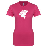 Next Level Ladies SoftStyle Junior Fitted Fuchsia Tee-Spartan Icon