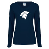 Ladies Navy Long Sleeve V Neck Tee-Spartan Icon