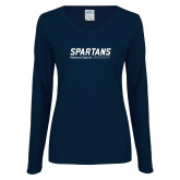 Ladies Navy Long Sleeve V Neck Tee-Wordmark