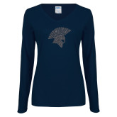 Ladies Navy Long Sleeve V Neck Tee-Spartan Icon Glitter Graphite Soft Glitter