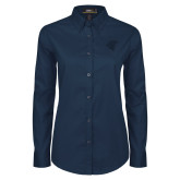 Ladies Navy Twill Button Down Long Sleeve-Spartan Icon