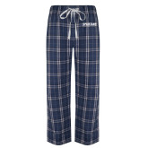 Navy/White Flannel Pajama Pant-Wordmark
