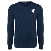 Classic Mens V Neck Navy Sweater-Spartan Icon
