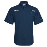 Columbia Tamiami Performance Navy Short Sleeve Shirt-Wordmark